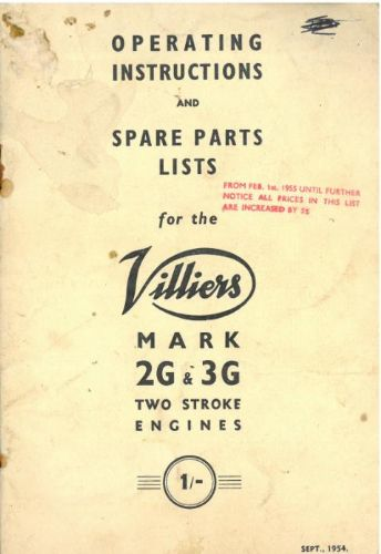 Villiers Mk2G & Mk3G Two Stroke Engine Operators Manual with Parts List